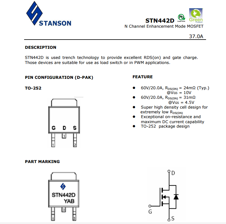 STANSON STN442D TO-252 N60V 37A