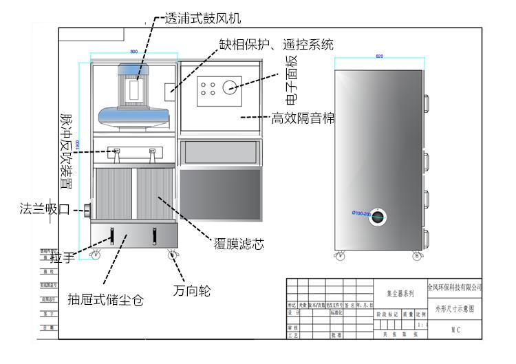 车间除尘设备配套工业集尘机