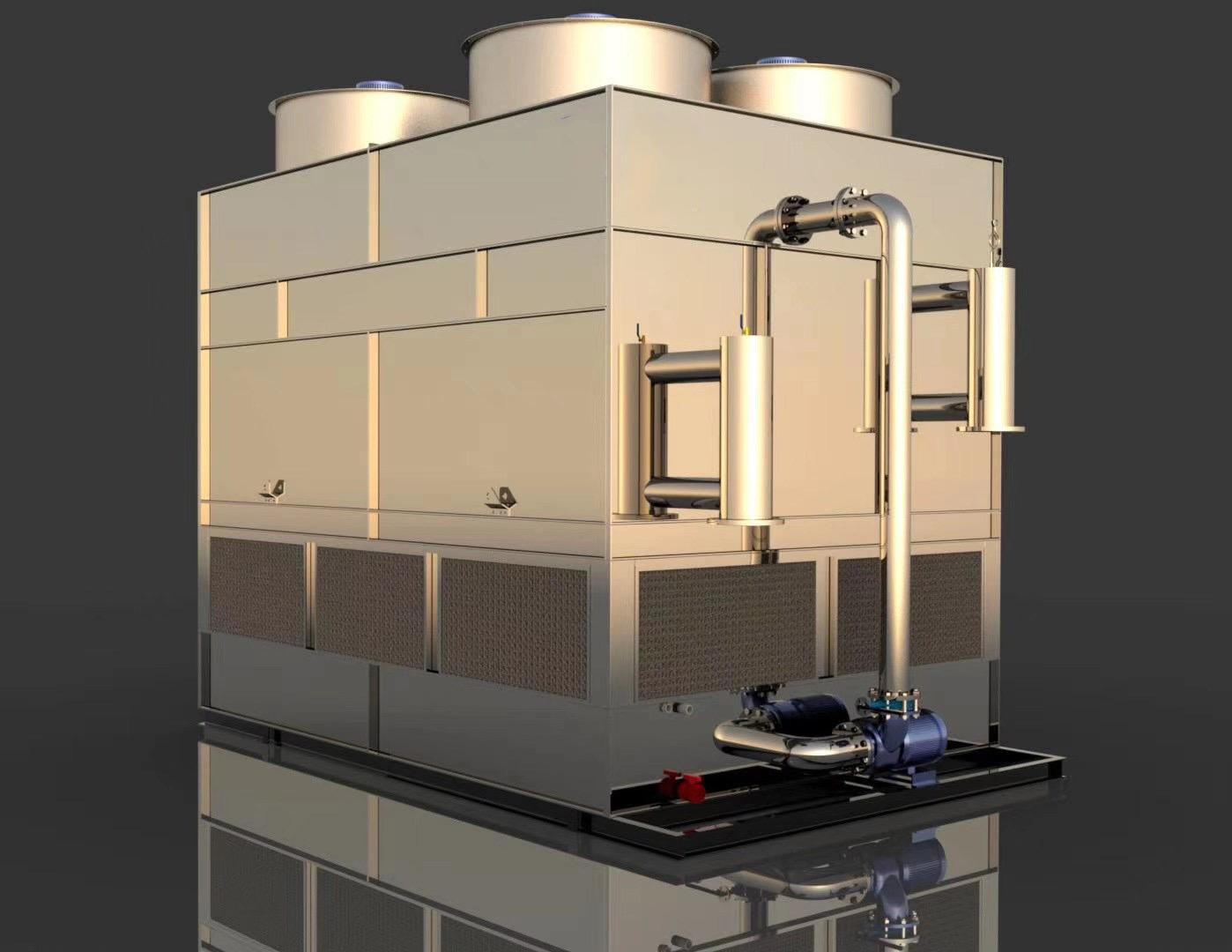 神農架密閉式冷卻塔 高溫逆流閉式冷卻塔 橡膠廠冷卻塔系統 水質干凈 節能 節水