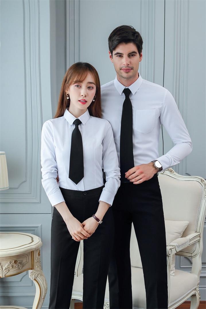 荊門西裝襯衫工作服定制刺繡logo繡字 純棉襯衫工服