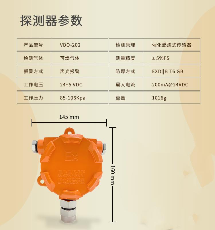 意通順供應 VDO-202工業防爆可燃氣體探測器 液化氣煤氣濃度檢測泄漏燃氣報警器