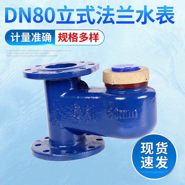 DN80立式全铁法兰水表 水电工程指针字轮组合式水表 民用水表批发